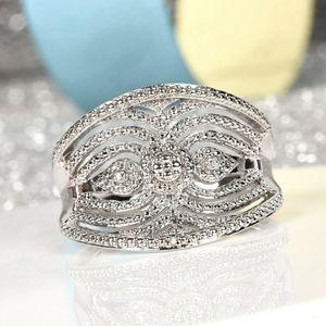 Diamond Accent Platinum Bonded Brass Ring